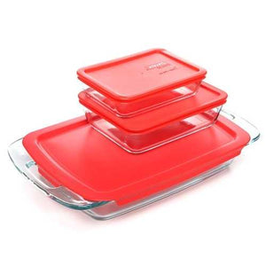 6-Piece Glass Bakeware Food Storage Set with Red Plastic Lids