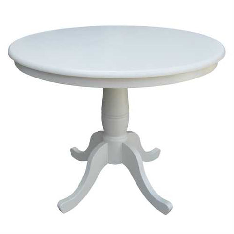 Round 30-inch Dining Table In White Wood Finish and Pedestal Base