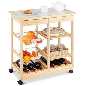 Mobile Wooden Kitchen Cart with Storage Drawers and Wine Rack