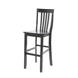 Set of 2 - 30-inch Solid Hardwood Bar Stools in Black Finish