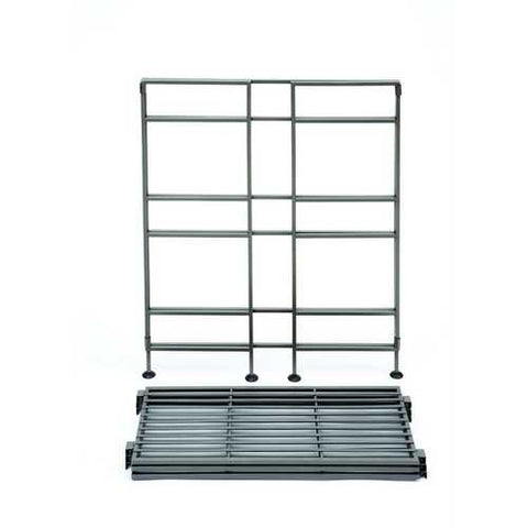 Image of 3-Shelf Iron Rectangular Folding Metal Bookcase Storage Shelves