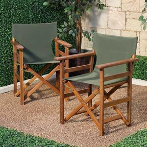 Set of 2 - Outdoor Patio Seating Directors Chair with Forest Green Fabric Seat