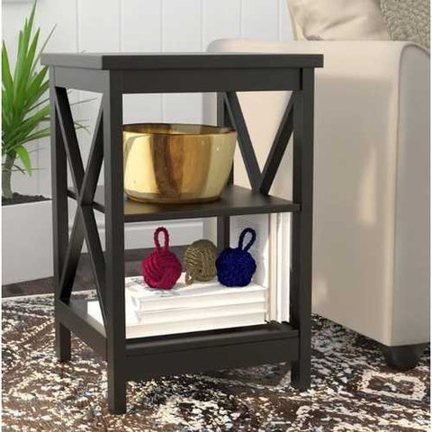 Image of Black Wood X-Design End Table Nightstand with 3 Open Shelves