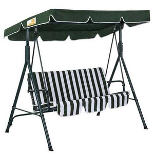 Outdoor Patio Porch Deck Steel Frame 3-Seat Canopy Swing Hammock in Green and White