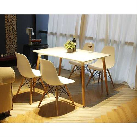 Set of 4 Modern Ergonomic Dining Chairs in White with Wood legs
