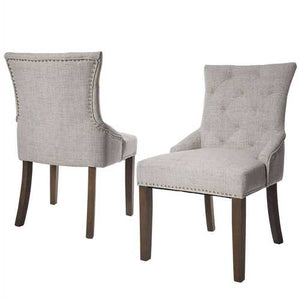Set of 2 - Traditional Grey Linen Fabric Upholstered Dinging Chair with Nailhead Trim