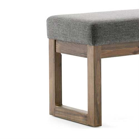 Image of Modern Wood Frame Accent Bench Ottoman with Grey Upholstered Fabric Seat