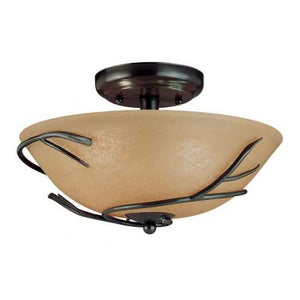 Round 12-inch Semi Flush Mount Ceiling Light with Twig Accent