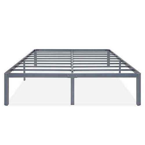 Queen Heavy Duty Grey Metal Platform Bed Frame with Round Corners