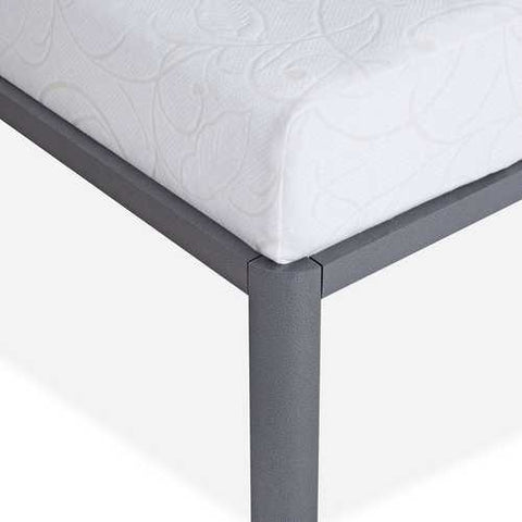 Image of Queen Heavy Duty Grey Metal Platform Bed Frame with Round Corners