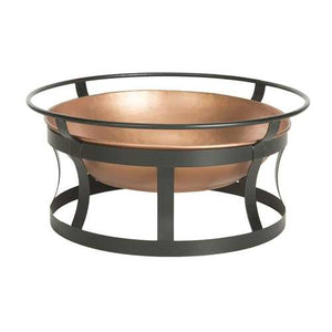 Copper Fire Pit with Black Iron Stand Grate and Fire Poker