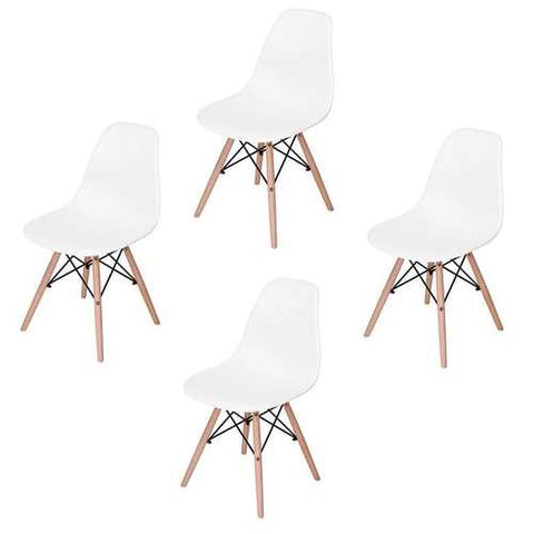 Set of 4 Modern Armless Dining Chairs in White with Wood Legs
