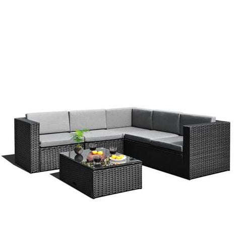 Image of Black Wicker Resin 4-Piece Outdoor Patio Furniture Set