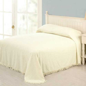 King size Ivory Bedspread 100-Percent Cotton Chenille with Fringed Edges