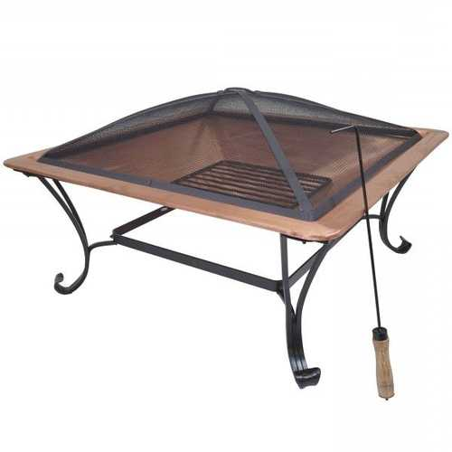 Square Large Copper Fire Pit with Spark Screen and Stand