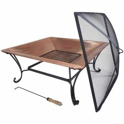Image of Square Large Copper Fire Pit with Spark Screen and Stand