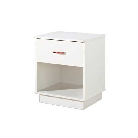 Image of 1-Drawer Nightstand with Open Compartment in White Finish