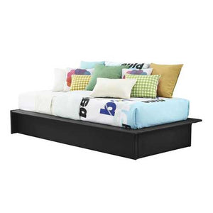 Black Faux Leather Upholstered Platform Bed Frame with Wood Slats in Twin