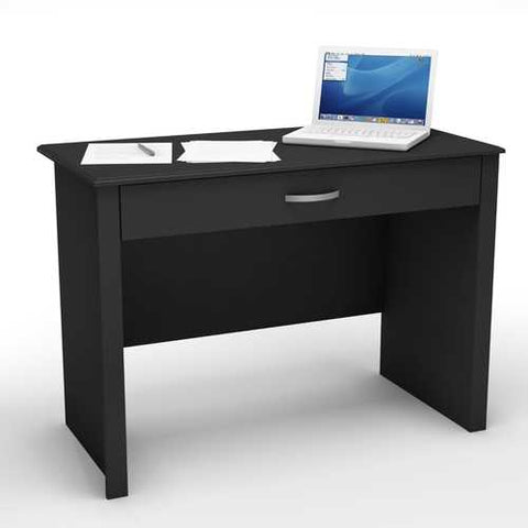 Image of Black Laptop Computer Desk with Keyboard Tray Drawer