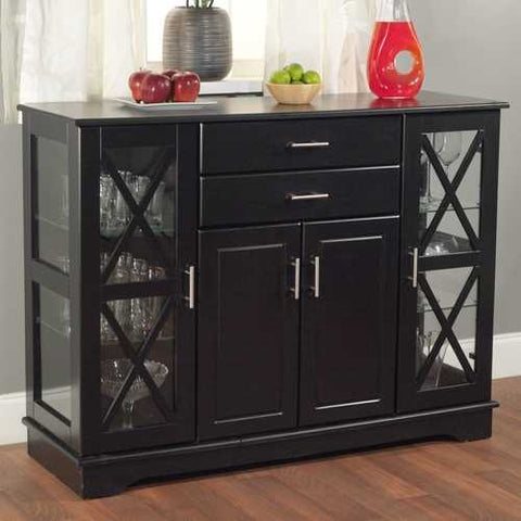 Image of Black Wood Buffet Dining-room Sideboard with Glass Doors