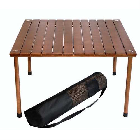 Image of Outdoor Portable Folding Table with Carry Bag with Solid Wood Top