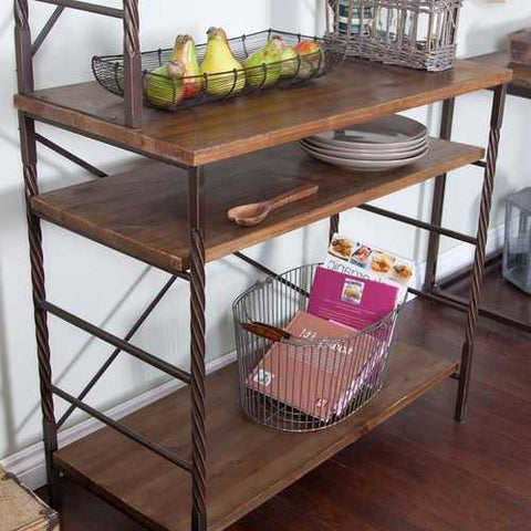 Durable Fir Wood and Metal Bakers Rack with Storage and Display Space
