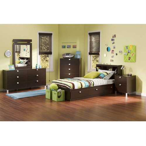Image of Twin size Contemporary Bookcase Headboard in Chocolate Finish