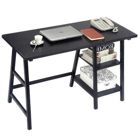 Image of Black Home Office Laptop Computer Desk Writing Table