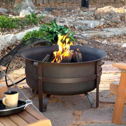 Heavy Duty 34-inch Fire Pit Deep Steel Cauldron with Screen Stand and Cover
