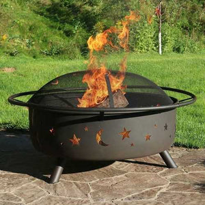 Heavy Duty Black Steel Fire Pit with Cooking Grill and Screen