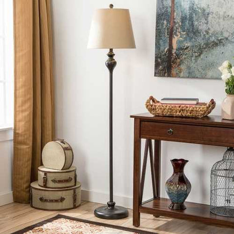 3-Piece Floor Lamp and Table Desk Lamp Set in Black with Light Gold Drum Shades