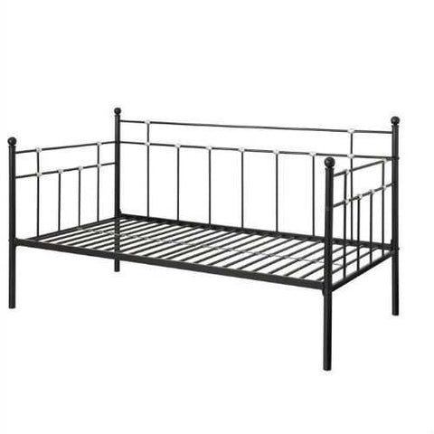 Image of Twin size Black Metal Daybed with Chrome Detailing