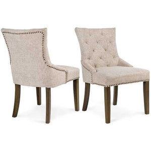 Set of 2 - Traditional Beige Linen Upholstered Dining Chair with Nail-head Trim