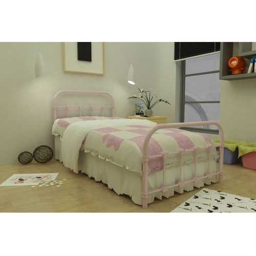 Twin Pink Metal Platform Bed with Headboard and Footboard