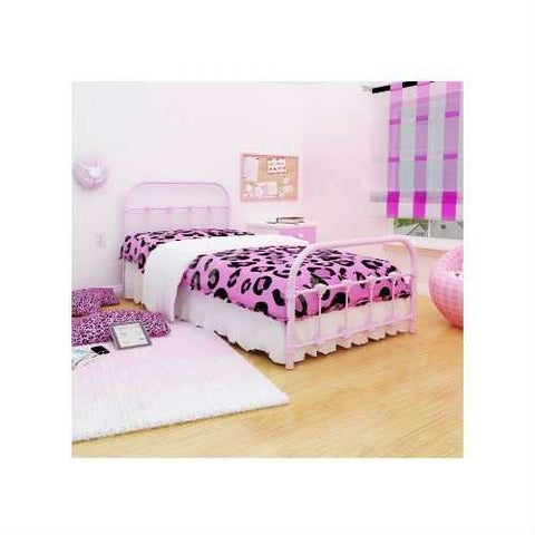 Image of Twin Pink Metal Platform Bed with Headboard and Footboard