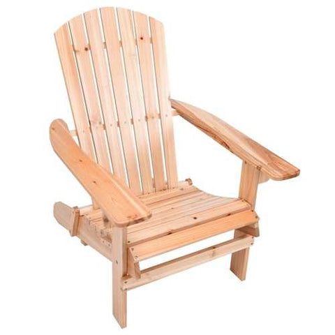 Unfinished Wood Adirondack Chair with Retractable Foot-rest Ottoman