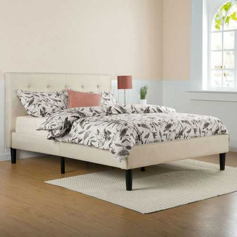 Image of Queen size Taupe Beige Upholstered Platform Bed Frame with Headboard