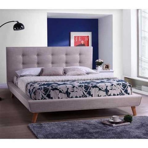 Image of Queen size Modern Grey Linen Upholstered Platform Bed with Button Tufted Headboard