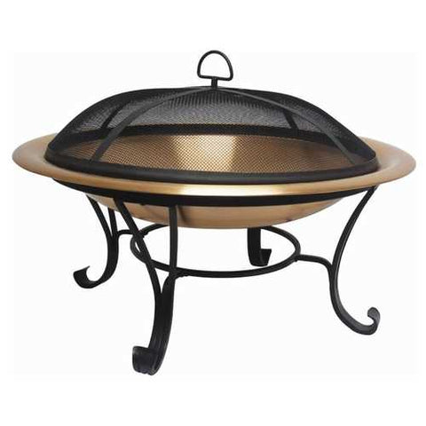 Image of Large 35-inch Copper Bowl Fire Pit with Steel Stand and Cover