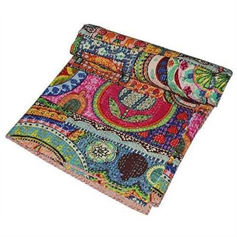 Image of Queen size Colorful Floral Patchwork Quilt Blanket 100-percent Cotton