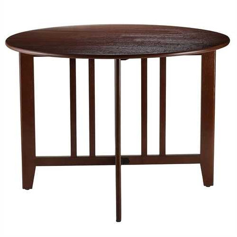 Mission Style Round 42-inch Double Drop Leaf Dining Table