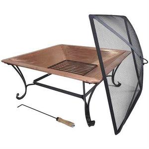 Square 32-inch Steel Fire Pit with Spark Screen