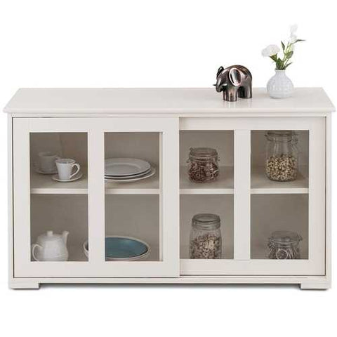 Modern White Wood Buffet Sideboard Cabinet with Glass Sliding Door