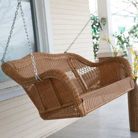Walnut Brown All Weather Resin Wicker Porch Swing with Hanging Chain