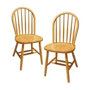 Set of 2 - Solid Beech Wood Dining Chairs in Natural Finish
