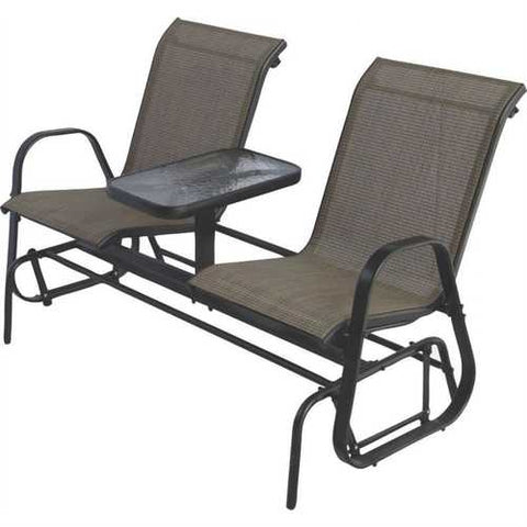 2-Person Outdoor Patio Furniture Glider Chairs with Console Table