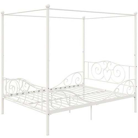 Image of Full size White Metal Canopy Bed Frame with Heavy Duty Steel Slats