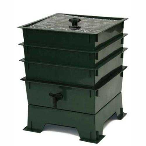 3-Tray Worm Composter - Worm Compost Factory in Green