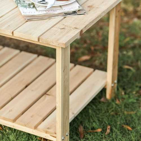 Outdoor Fir Wooden Patio Coffee Table in Natural Wood Color