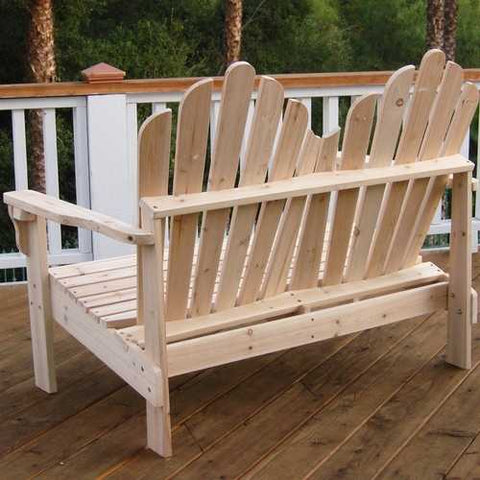 Image of 2-Seat Adirondack Style Outdoor Cedar Wood Garden Bench